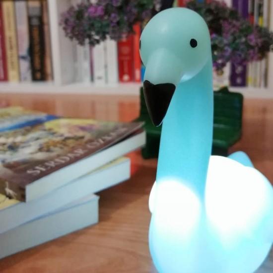 Dekoratif Işık Altında Renk Değiştiren pilli Kuğu Gece Lambası